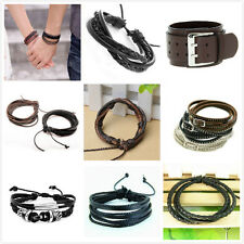 Handmade Black/Brown Leather Surf Bracelet Wristband Braided Friendship Couple