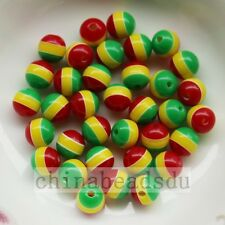 100pcs 6MM Colorful Striped Resin Round Beads Gumball Charms For Jewelry Making