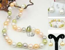 Chic Colourful 10mm Sea Shell pearls Necklace Earrings Bracelet AU SELLER je001