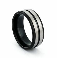 8mm Titanium Ring Silver Brused Grooved Center Steped Men's Wedding Band Jewelry