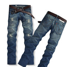 Hot Sale Boy Men Casual Slim Fit Straight Trousers Fashion Designed Ripped Jeans