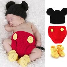 New Handmade Newborn Mickey Mouse Costume Clothes Outfit Photo Prop Baby Hat Set