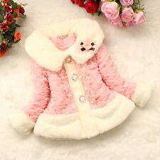 Baby Girls Princess Faux Fur Coat Lace Placket Kids Hairy Thicken Jacket Outwear