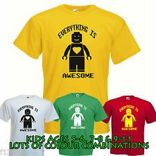 LEGO EVERYTHING IS AWESOME CHILDRENS FIT T SHIRT movie film girl boy bricks KIDS