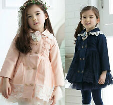 Fashion Kids Toddler Clothes Girls Double-breasted Dust Coat Outerwear Sz2-7Y