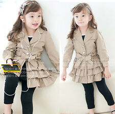 New Kids Toddlers Girls Long Sleeve Dust Coat Outerwear With Waistband Ages3-8Y