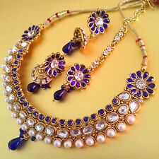 Sparkling stone Dancing Girl India colourful pearl bollywood necklace set s464