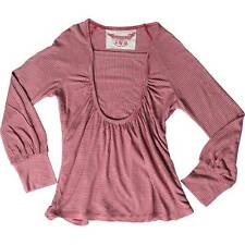 PAPER WINGS ~ Girls 6 & 8yrs LONG SLEEVE GATHERED RED/GREY STRIPE TEE  - NWT