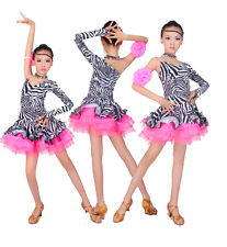 New Lovely Girls Zebra Skirt Latin Cha cha Samba Ramba Jive tango Dance Dress