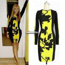 Women's O-Neck Long Sleeve Beyonce Dress Stretch Bodycon Dress Plus size Skirts
