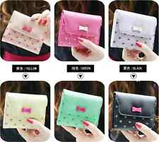 Mini Lady Bowknot PU Leather Purse Small Women Clutch Wallet Card Holder Bag