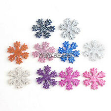 Lot 100pcs 30*30mm Christmas Snowflake Beads Acrylic Glitter Necklace Jewelry