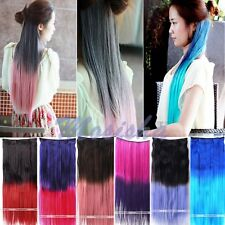 """22"""" Synthetic Long Straight Clip On In Hair Extension Neon Gradient Colors HOT"""