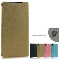 High Quality PU Leather Stand Case Flip Cover + Screen Protector for Sony Phone