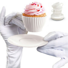 Afternoon Tea Party Bake and Serve White Cupcake Moulds Decorating Desert Set