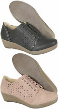 Womens Brogues Shoes Ladies Summer Casual Lace Up Wedge Heel Girls Shoes Size