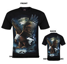 MENS LADIES  T-SHIRT EAGLE WOLF NATIVE AMERICAN INDIAN BIKER T-SHIRT
