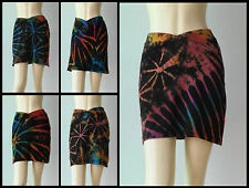Casual loose fitting elastic waist short hip summer skirt cotton 1 size tie dye