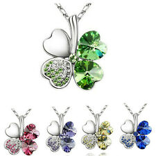 18K White Gold Plated Four-Leaf Clovers Crystal Colorful Pandent Chain Necklace
