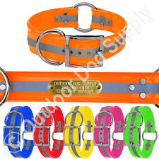"""Hunting Dog Name Collar Strap Heavy Duty Ring in Center 1 1/2"""" Wide Reflective"""