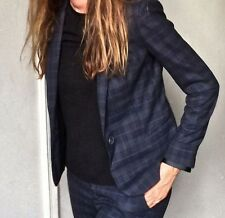 NEW ZARA BLUE GRAY CHECKED BLAZER WINTER 2013 SOLD OUT SIZES S M L XL
