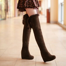 Winter Christmas Womens Pumps Platform Wedge High Heels Over The Knee Thigh Boot