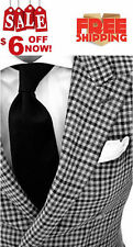 CUSTOM MADE TO MEASURE TAILORED MEN SUITS,BESPOKE BLACK WHITE CHECKER MEN TUXEDO