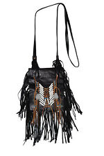 Native American Leather Bag Purse Bone Fringe Lanyard Boho Ethnic Black (LWL035)
