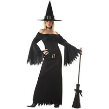 NIB Sexy Elegant Witch Adult Long Black wizard of oz west  Halloween Costume