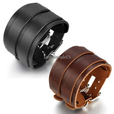Men Rock Wristband Genuine Leather Bracelet Wide Bangle Cuff Bracelet