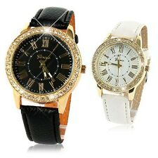 Women's Luxury Faux Leather Strap Golden Bling Crystal Analog Quartz Wrist Watch