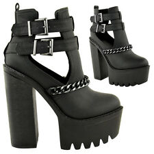 LADIES WOMENS CHUNKY CLEATED SOLE HIGH HEEL PLATFORM CUT OUT ANKLE BOOTS SHOES