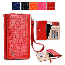 New Slim Crocodile PU Leather Wrist-let Cover Wallet Case DV|A fits Mobile Cell
