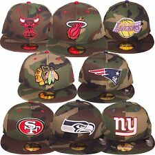 New Era 5950 59Fifty Camo Pop Fitted Baseball Cap Hat Woodland Camo Many Teams