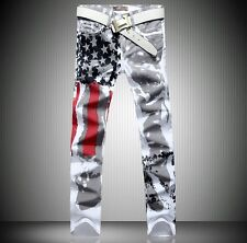 New Men Italy Style Jean Fashion Graffiti USA Flag Painted Pants Trousers 28-40