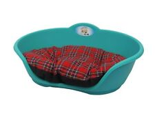 Heavy Duty TEAL GREEN Pet Bed With RED TARTAN Cushion UK MADE Dog Or Cat Basket
