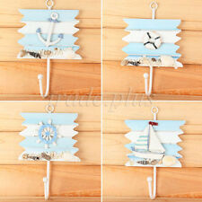 Nautical Shabby Wooden Wall Hook Hanger Coat/Hat/Bath Towel Rack Decor Xmas Gift
