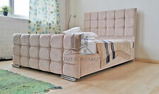 Fabric Bed Frame Upholstered In Chenille Leather Diamantes 4FT6 Double 5FT King