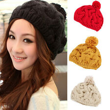 Women Lady Winter Warm Crochet Knit Wool Ski Hat Beanie Pumpkin Ball Cap Beret