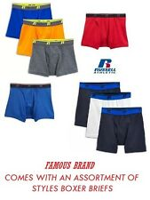 RUSSELL MEN'S 6 PACK BOXER BRIEFS IN FAMOUS BRAND PACKAGING