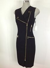 Calvin Klein Beautiful BLACK  Dress Gold Side Zippers and Gold Ornaments sz 4,8