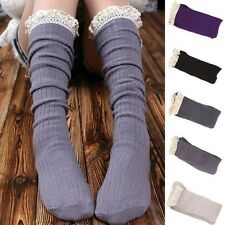 Lace Trim Warmers Boot Socks Crochet Cotton Knit Footed Leg Knee High Stockings
