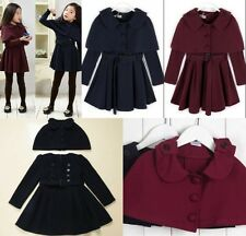 3 Ways Autumn Girls Wool Blend Belted Cape Vest Dresses Coats Outwear 120-160cm
