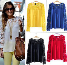 New Womens Ladies Long Sleeve Embroidery Lace Tops Chiffon Shirt Blouse Size6-22