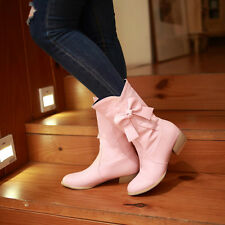 New Fashion Women's Block Heel Bowknot Mid Calf Boots Leather Slouch OL Shoes