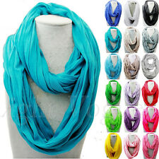 Lady New Solid Soft Touch Infinity Scarf Loop Cowl Neck Plain Wrap Shawl 106