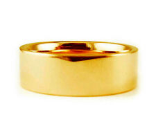 8mm 18K YELLOW GOLD FLAT PLAIN SHINY COMFORT FIT WEDDING BAND RING