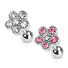Surgical Steel Flower Tragus Lip Labret Nose Ear Cartilage Piercing Barbell Stud