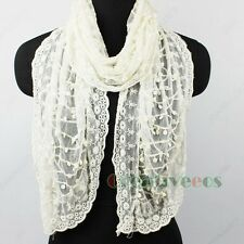 Embroidery Lace Trim Dot Net Soft Cozy Mantilla Long Scarf Tulle Lace Shawl New