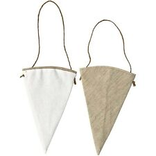 Fabric Cone Shape - Hanging Decoration - Christmas Craft - White or Linen GIFT